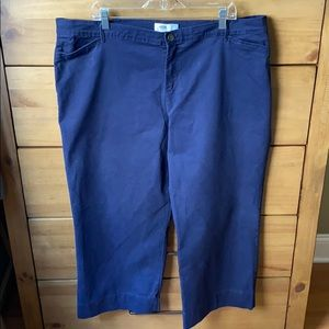 Old Navy Blue Wide Leg Cropped Pants / Size 18
